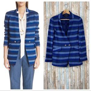 St John 4 Blue Stripe Santana Knit Blazer Jacket